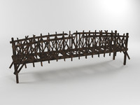 old wooden bridge broken 3d model