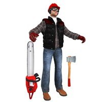 3d model lumberjack worker 6 man