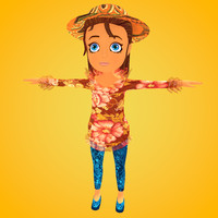 Jessica Cartoon Woman Girl LowPoly