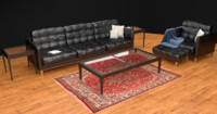 3d modern leather furniture set