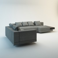 fabric leather sofa 3d model