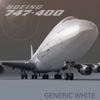 3d model boeing 747-400 generic white