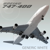 3d boeing 747-400 generic white model
