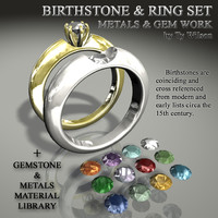 birthstones rings stones 3d 3ds