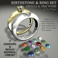 3d birthstones rings stones