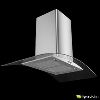 3d model chimney hood curved glass