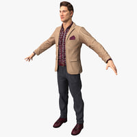 man work casual clothes 3d 3ds