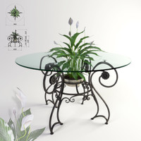 3d obj forged coffee table flower