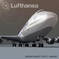 boeing 747-400 lufthansa 3d c4d
