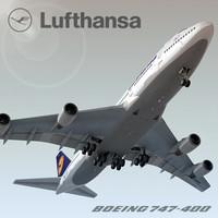 3d boeing 747-400 plane lufthansa model
