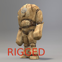 blend golem stone rigged character