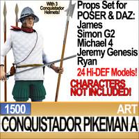 Props Set Poser Daz for Conquistador Pikeman A 1500