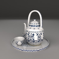 3ds max blue white porcelain tea