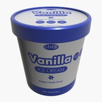 3d model ice cream pot vanilla