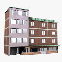 3d model street building facade