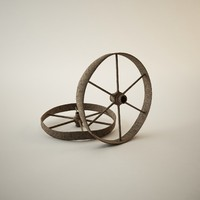 3d model antique rusted wheel