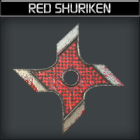 3d metallic shuriken red