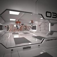 3d futuristic interior scene