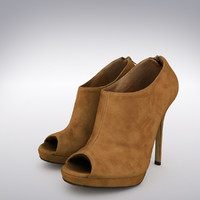 Women's High Heel Tanned Suede Shoe - 3D Scanned