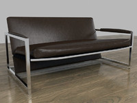 Modern Leather Sofa Chrome Frame