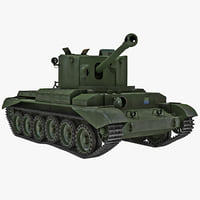 Cruiser Tank Mk VIII Challenger United Kingdom Rigged