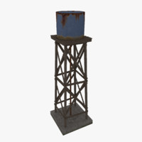 farm water tower 3d obj