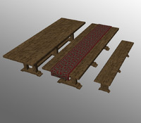 wooden table 3d obj