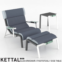 3d model kettal bob club armchair