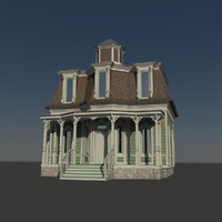 3d wooden victorian house model
