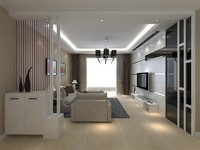 3d living dining room model