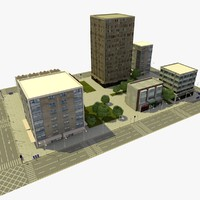 3d city urban block d