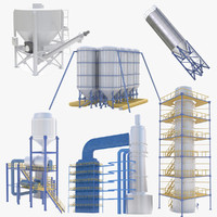 3d industrial silos model