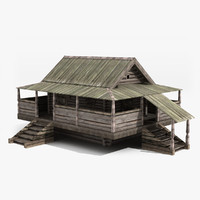 3d model old wooden house