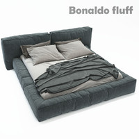 3d double bed bonaldo fluff model