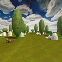 c4d cartoon landscape trees