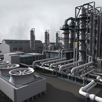 industrial refinery construction 3d model