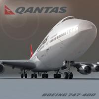 3ds max boeing 747-400 qantas
