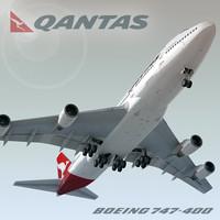 3d boeing 747-400 plane qantas model