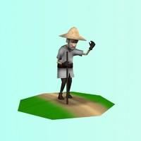 old farmer 3d model