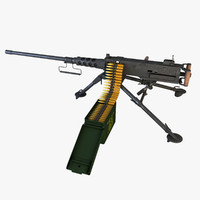 m2 browning machinegun 3d model