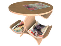 3d wooden magazine table