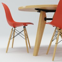 3d vitra dsw chair gueridon model