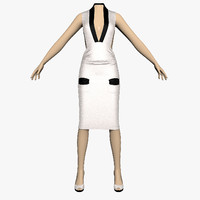 dress silver female mannequin 3d model