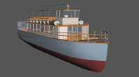 3d model of old wooden ferry river