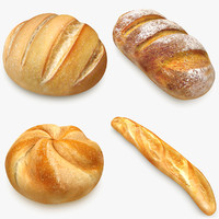 3d model bread set