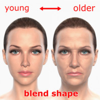 shape young older realistic female 3d obj