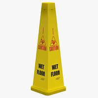 3d wet floor cone yellow