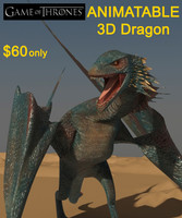 Game of Thrones High Detailed 3D Dragon Model (Animatable)