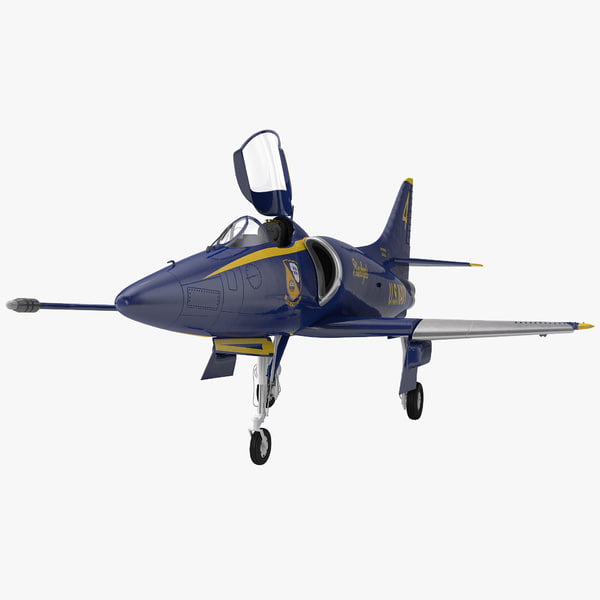 Attack Aircraft A-4 Skyhawk Blue Angel Rigged airplane plane transport transportation united states navy stunt aerobatic flyover marine corps a4d vray