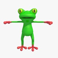 frog toad cartoon character 3d model